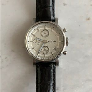 Last Chance Fossil Watch with B & W Leather-bands.